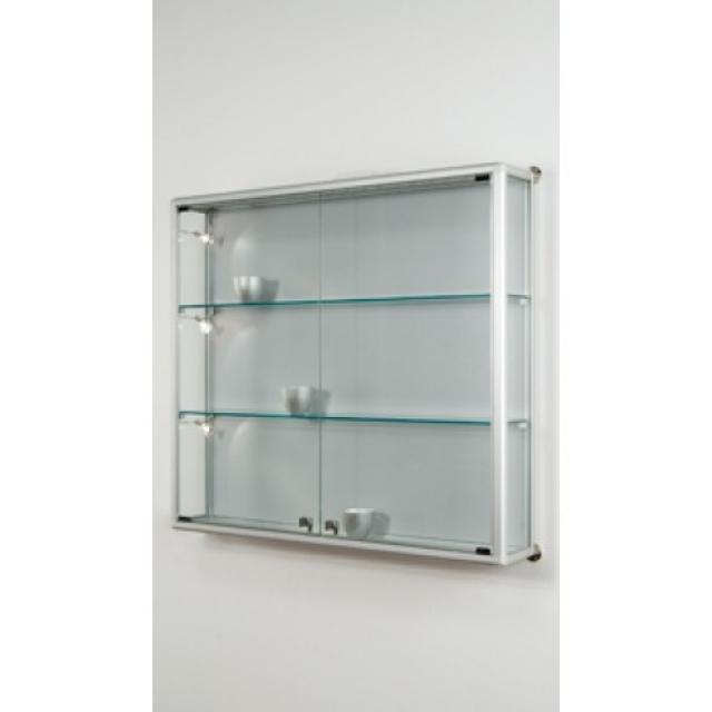 vetrinetta da parete box 98x19x88H, telaio in alluminio